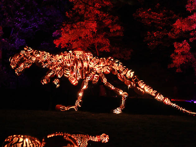 carved pumpkins on display at the Great Jack O'Lantern Blaze Halloween spectacular