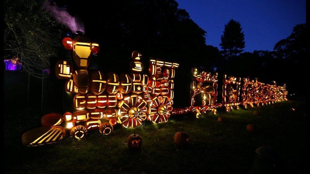 Hudson Valley Great Blaze carved pumpkins display